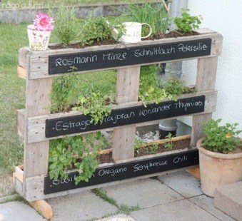 creative flower stand made with wooden pallets