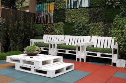 furniture out of wooden pallets. creative yard made out of wooden pallets furniture