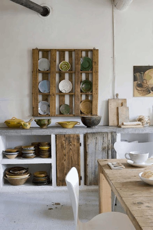 wooden plate storage