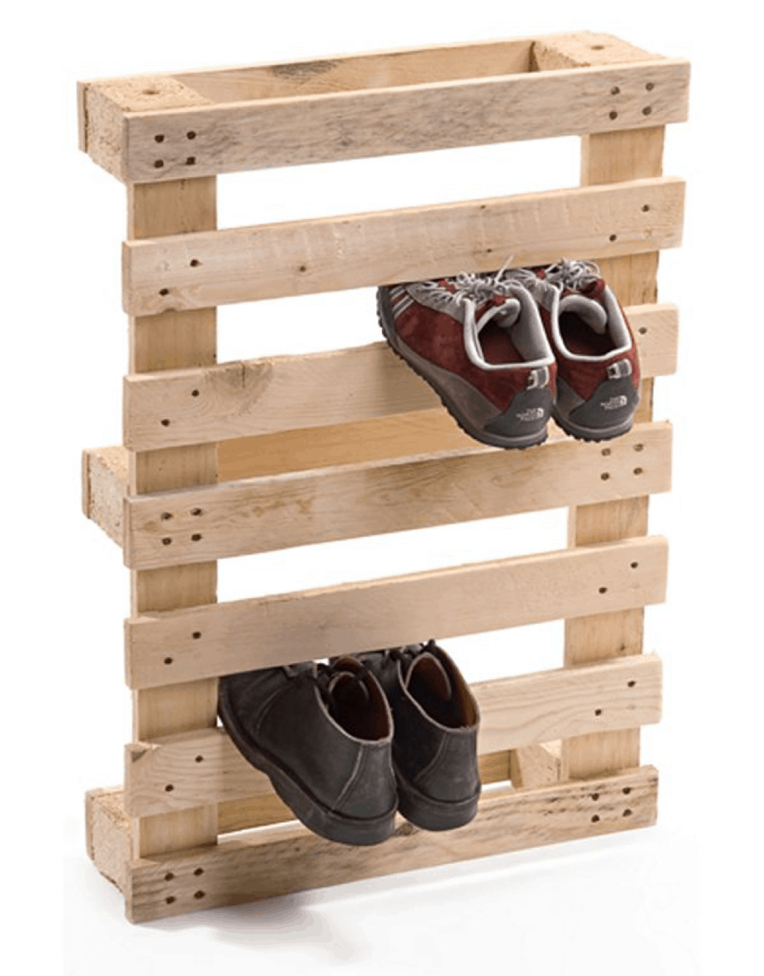 shoe rack made from wooden pallets